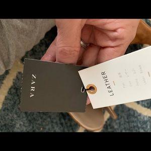 Zara Shoes - Zara Tan Leather High-heeled Boots - NWT